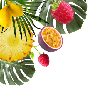 tropical fruits and plants and raspberries