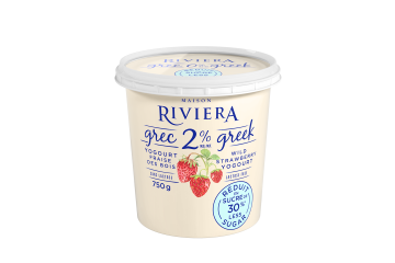 Maison Riviera Wild Strawberry 30% Less Sugar 2% M.F. Greek Yogourt 750g
