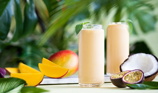 Smoothies tropical fruits and coconut